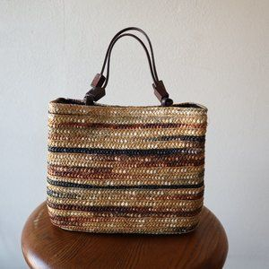 Vintage Tri Color Hand Woven Wheat Straw Purse